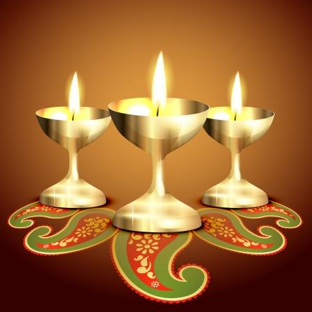 diwali greeting: golden indian worship lamp illustration Illustration