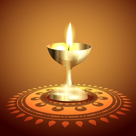 diya: diwali diya de oro del vector del fondo