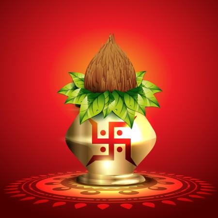 beautiful shiny diwali kalash vector illustration Illustration