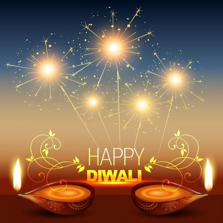 diwali celebration: stylish diwali diya with fireworks Illustration
