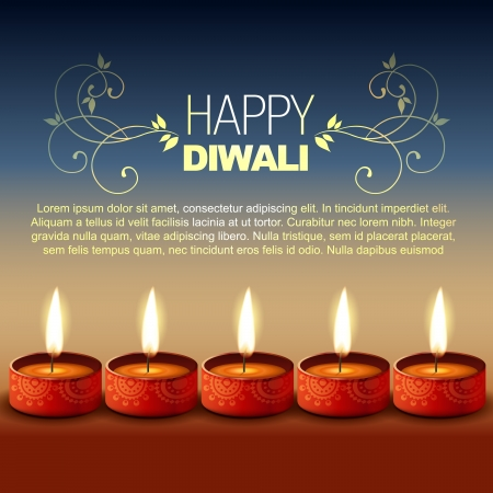 hindu festival happy diwali background Vector