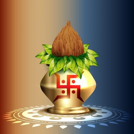 beautiful hindu worship kalash vector design Stock Vector - 15656172