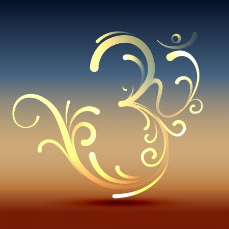 con estilo hindú om símbolo de diseño