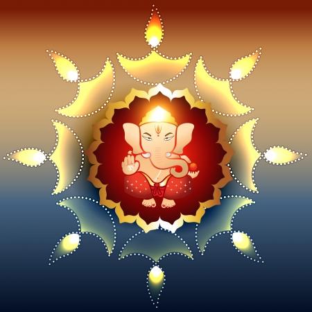 hinduismo: hermosa ilustraci�n de lord ganesh hindu