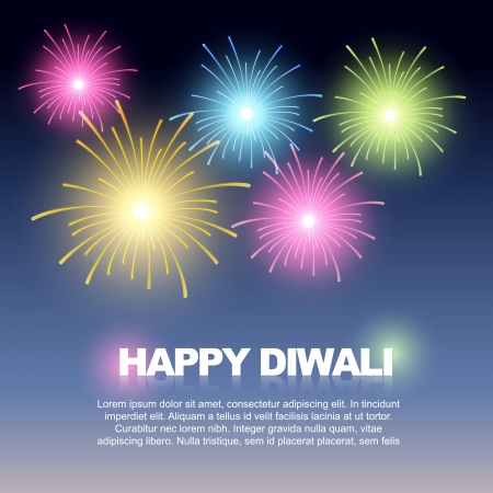 beautiful colorful firework on sky diwali background Vector