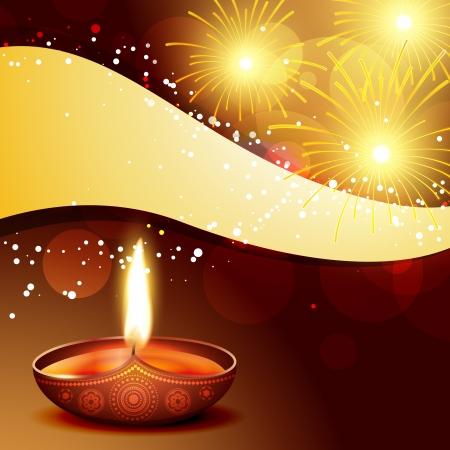 crackers: beautiful diwali diya with firworks Illustration