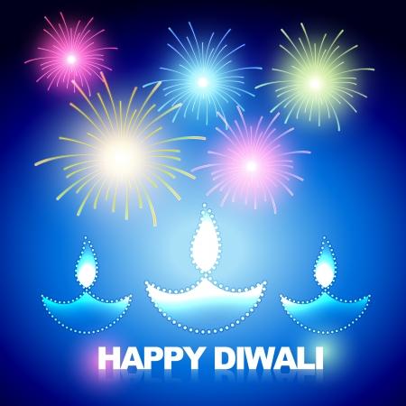 hinduismo: diwali fundo com fogos de artif�cio Ilustração