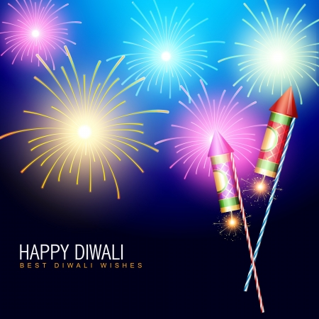 diwali fireworks with rocket cracker Vector