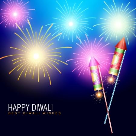 deepawali: diwali fuegos artificiales con galleta cohete Vectores