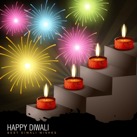 diwali diya with colorful fireworks Vector
