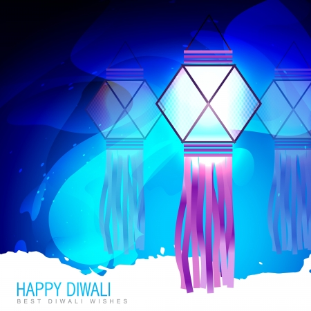 happy diwali lamp on blue background Vector