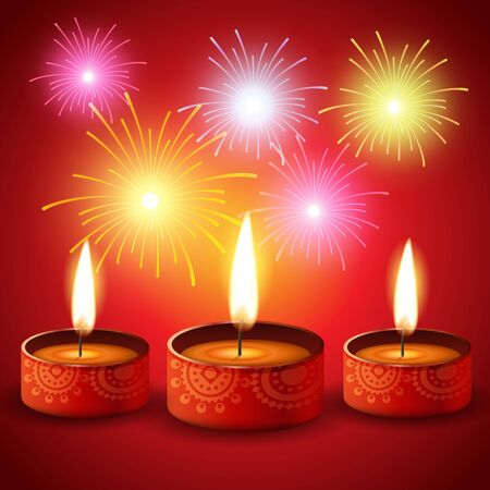 diwali fireworks with diya background Vector