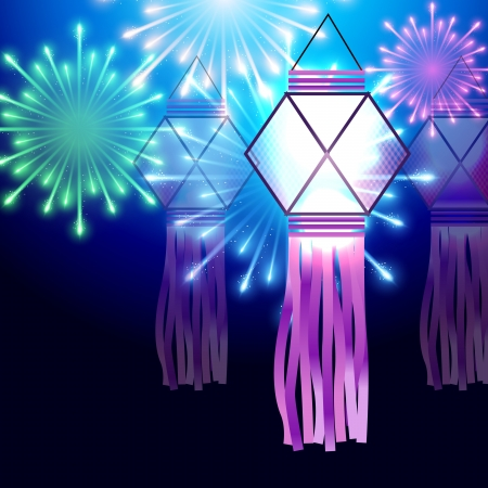 beautiful diwali festival lamp with fireworks Vector