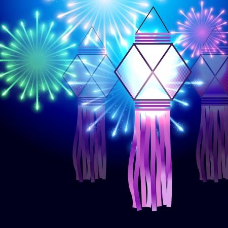 hinduismo: hermoso festival de Diwali lámpara con fuegos artificiales