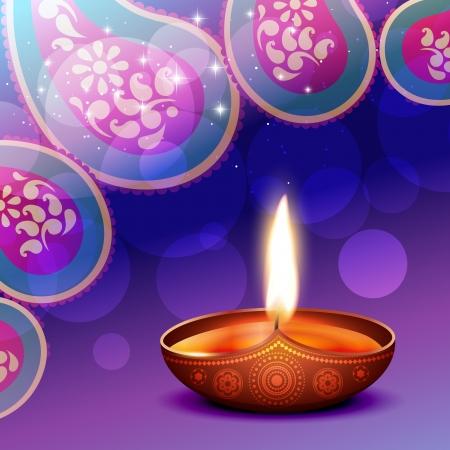 diwali diya background illustration Stock Vector - 15655706