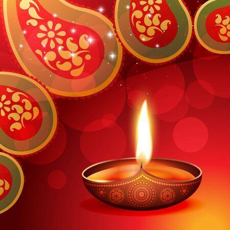 traditions: beautiful diwali diya on artistic background Illustration