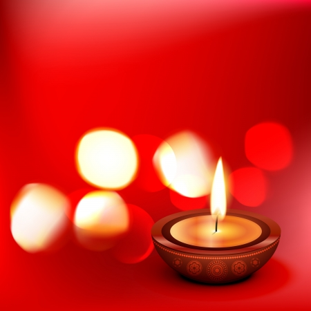 beautiful diwali diya on red background Vector
