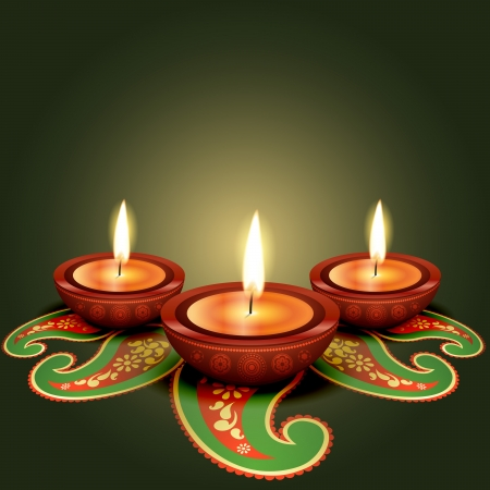 stylish glowing diwali diya background Vector