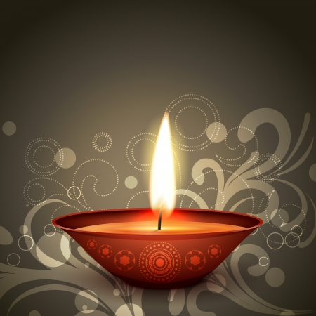 stylish indian festival diwali diya on dark background Stock Vector - 15656233