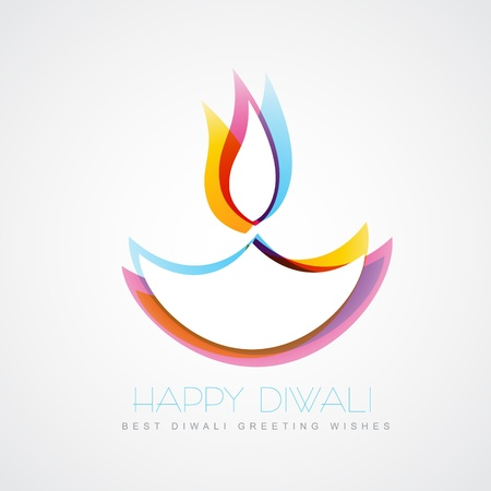 stylish colorful diwali diya isolated on white background Vector