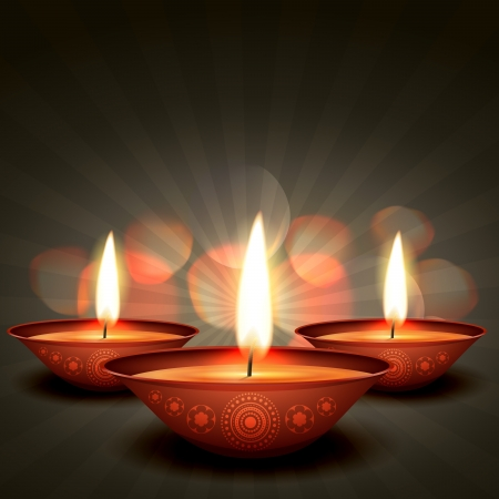 diwali diya on stylish background Vector