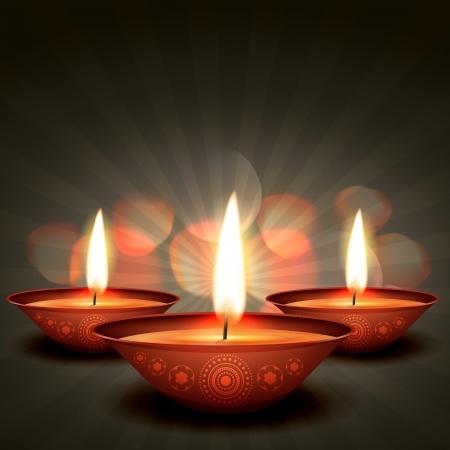 diwali greeting: diwali diya on stylish background