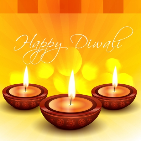 beautiful happy diwali indian festival illustration Vector