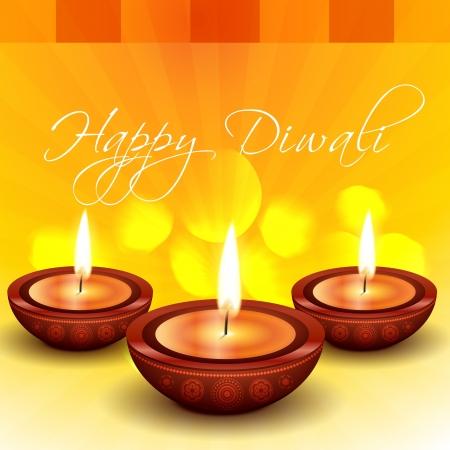 diya: hermosa feliz Diwali Indian festival de ilustraci�n Vectores