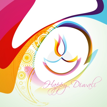 stylish colorful diwali diya background Vector