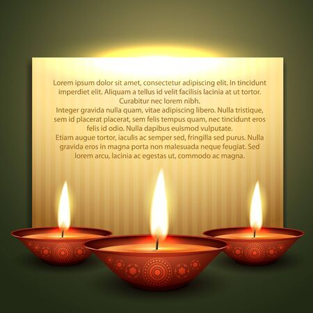 beautiful diwali diya vector background with space for your text Vector
