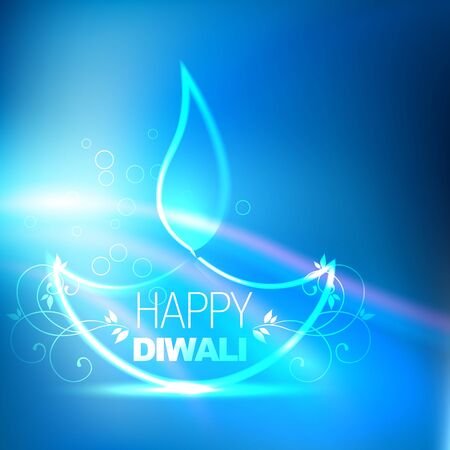 deepawali: creative shiny diwali diya on blue background Illustration