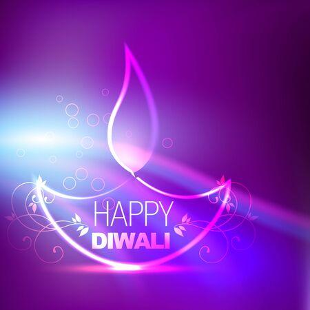 deepawali: creative diwali diya on purple background Illustration
