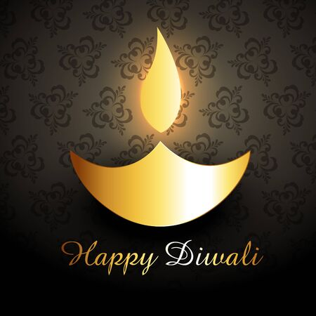 shiny golden vector diwali diya design illustration Vector