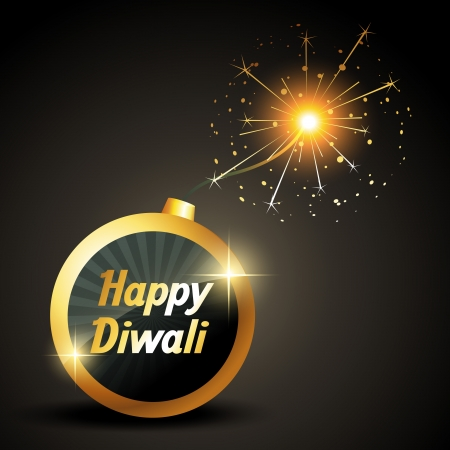 happy diwali bomb illustration Vector