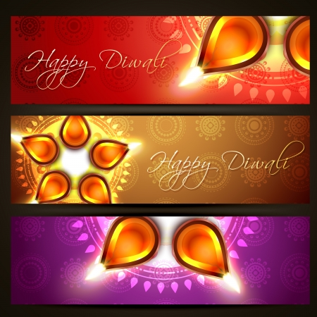 beautiful set of diwali headers Stock Vector - 15656004