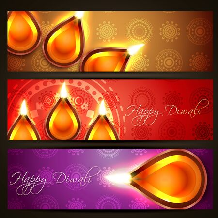 set of diwali headers Vector