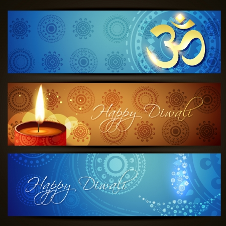 stylish set of vector diwali headers Vector