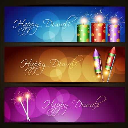 cracker: diwali crakers headers set Illustration