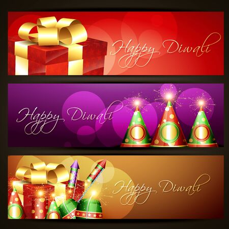 diwali festival headers designs Vector