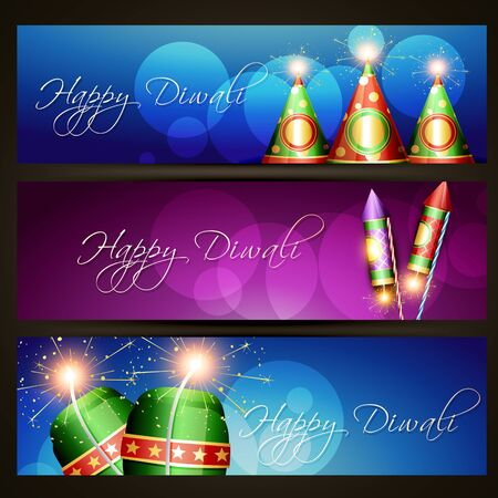 diwali festival headers design illustration Vector