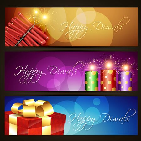 set of diwali headers Stock Vector - 15656071