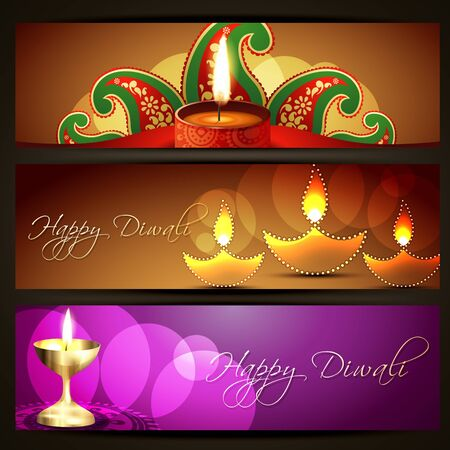 set of diwali headers designs Vector