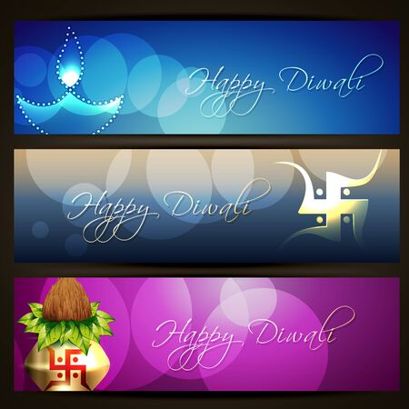 set of beautiful diwali headers Vector