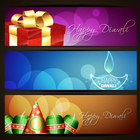 set of diwali headers Stock Vector - 15655997
