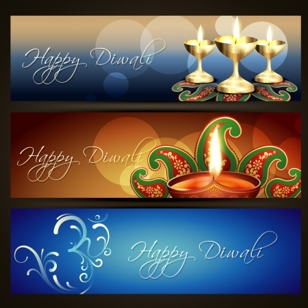 deepawali: hermoso indian festival de diwali encabezados establecer Vectores