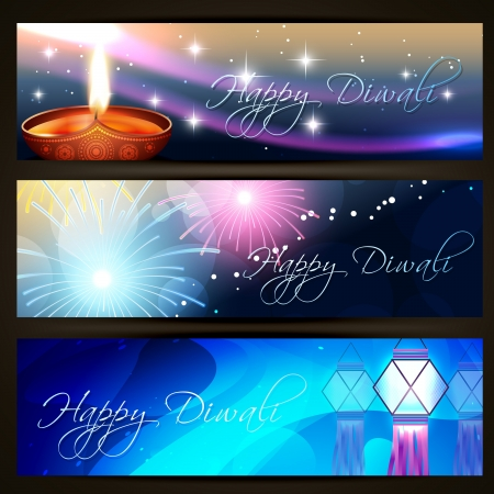 deepawali: beautiful indian festival diwali headers set Illustration