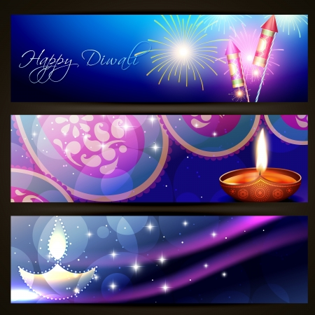 set of stylish diwali headers Vector