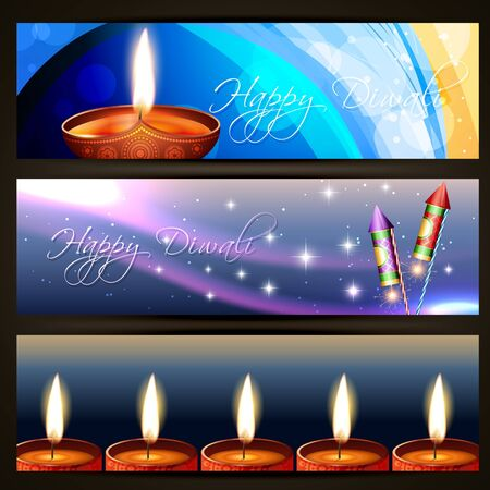 beautiful set of diwali headers Vector