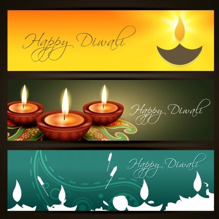 diwali greeting: stylish set of diwali headers