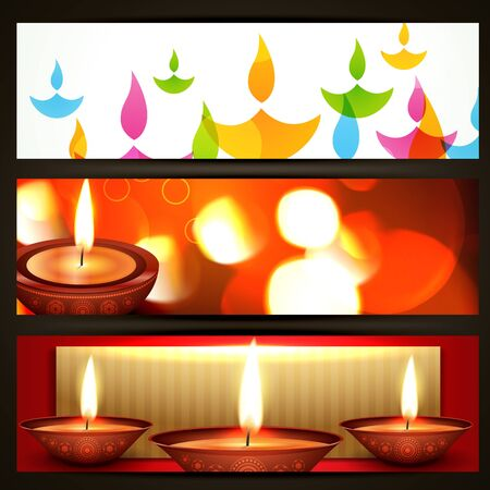 beautiful happy diwali headers set Vector
